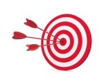 Red and White target with three arrow